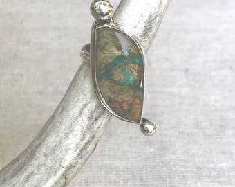 Adjustable Peruvian Opal sterling silver ring.