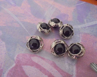 Set of 6 Vintage buttons silver and resin 15 mm