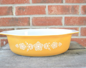Pyrex Butterfly Gold Oval Casserole Dish, 1970s