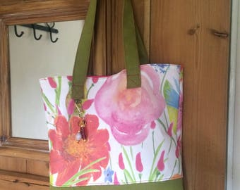 The Wealden Tote in floral and green