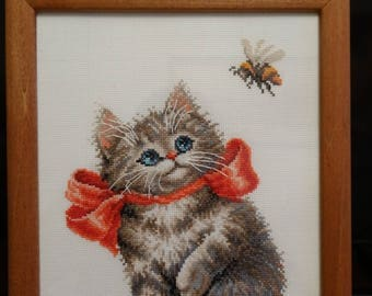 """Completed Finished Framed Cross-Stitch """"A genuine interest"""""""