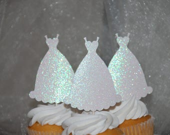 Glitter wedding dress cupcake toppers
