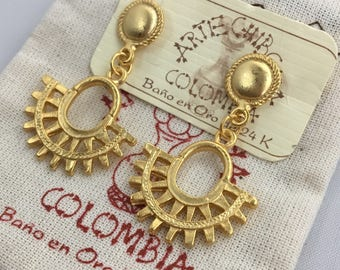 Crescent Sun PreColumbian Drop Earrings- Colombia- 24K Gold Plated