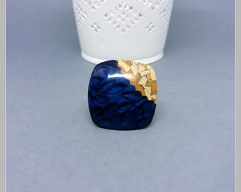 Ring adjustable Cork effect and blue cosmos