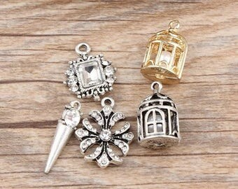 10pcs Birdcage Charm Cage Charm Cross Charm Pin Charm Gold Silver Metal Charm Birdcage Pendant Cross Pendant Jewelry Findings Jewelry Charms
