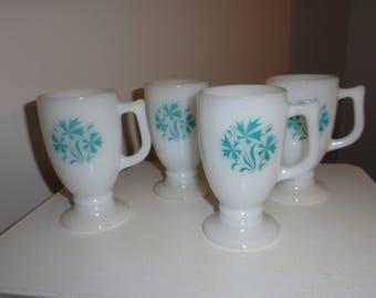 Set of 4 Vintage White Milk Glass Pedestal Mugs Glasses Turquoise Flower Pattern Footed Irish Coffee Mid Century Cornflower