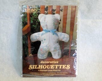 "Titan Stamped Cross Stitch ""Bear"" Kit | Decorative Silhouettes | Vintage 1987 New Unopened | Teddy Bear | Titan Needlecraft Kit #1201"
