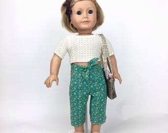 Green Circle Capris - Handmade 18 Inch Doll Cropped Pants, AG Doll capri pants fits American Girl Doll