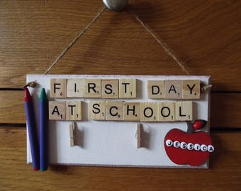 Personalised First Day At School / Nursery Crayon Frame/plaque