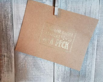 I love you a bushel and a peck embossed brown paper envelope