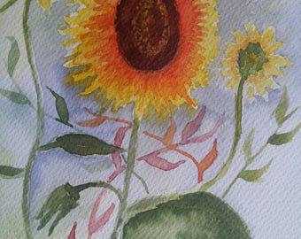 Original sunflower watercolor