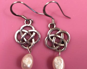 Celtic Knot and Freshwater Pearl Earrings