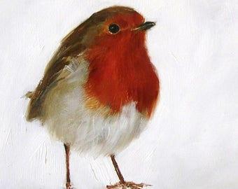 Handmade Card Robin Redbreast Bird from Original Painting by Heidi Langridge