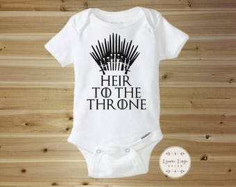 Game of Thrones Baby Onesie - Heir To The Throne - Game of Thrones Gift - Game of Thrones Baby Clothes - Baby Shower Gift - Baby Shower Gift