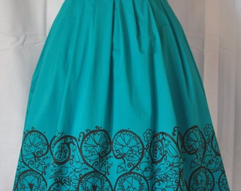 50s Style Screen Printed Pleated  Skirt