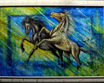 Decorative oil painting on canvas - Running horses
