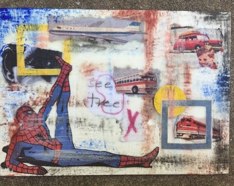"Stretchin' With Spidey - Original Encaustic Mixed Media Collage - 5""x7"""
