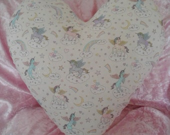 Unicorn/rainbow heart cushion