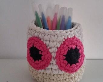 OWL pencil holder - crochet