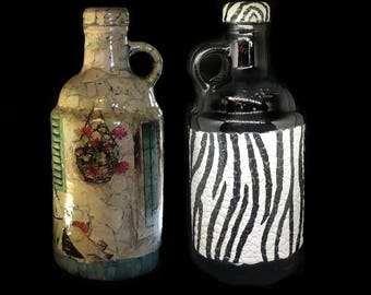 Decorated Bottles Decorative Bottle Decoupaged Glass Animal print Recycle Bottle Decorated Glass Painted Bottle Kitchen decor Stone House