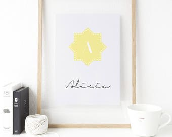 Poster personalized - initial in a star