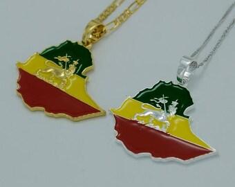 Ethiopian Map Pendant Necklace