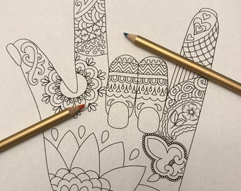 Coloring Page I Love You Sign Language Zentangle