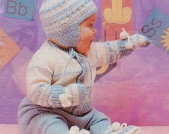 Knitted Pram Set For  Baby / Jacket , Leggings, Mitts And Helmet / Instant PDF Digital Download Vintage Knitting Pattern- A 88