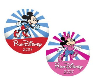 Run Disney Minnie and Mickey Button - Theme Park Button - Marathon Button - Racing Button