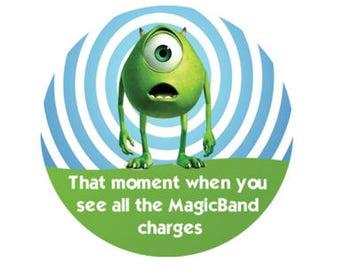 Mike Wazowski Shocked Button - Theme Park Button - Disney Park Button - Magic Band Button - Disney Lanyard Button