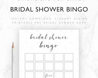 Bridal Shower Game Printable - Bridal Shower Bingo, Bridal Bingo Cards, Bingo Game - Instant Download PDF A4, US Letter, 5x7 - Pale Stars