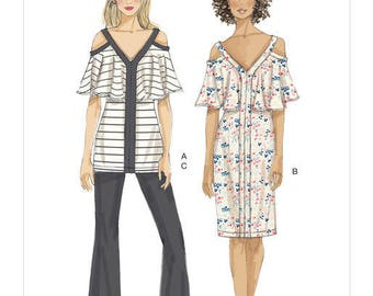 Top sewing pattern, dress and pants Vogue V9238 very easy