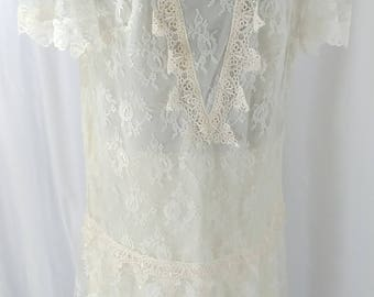 Vintage 1980's Gilberti Women's Floral White / Cream Chantilly Lace Cap Sleeve Dress SZ 12, 13, 14