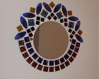 Round mirror in mosaic