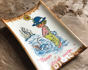 Never Drink Water, Cheeky Boy, Ceramic Wall Hanging, Goebel Germany
