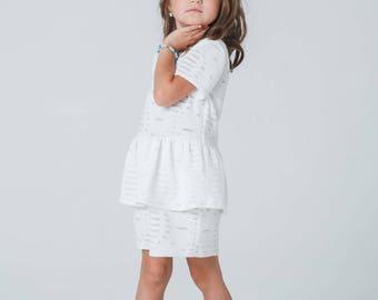 Toddler/Girl white/ivory peplum dress