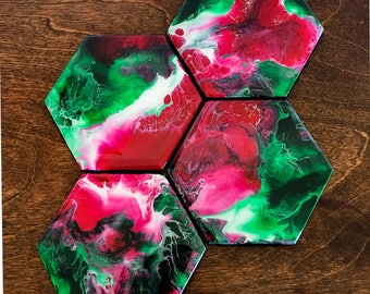 Watermelon Coaster Set- set of four handmade original green and red abstract fluid art resin coasters