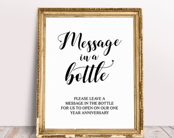Message In A Bottle, Weddding Signs, Wedding Signage, Message In A Bottle Sign, Bottle Guestbook Sign, Bottle Guest Book, Please Sign