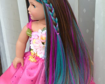 """Custom Doll Wig for 18"""" American Girl Doll Heat Safe Cap Size 10-11 Brown Teal Green Fuchsia Pink"""