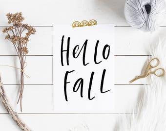 "Hello Fall Printable , Fall Printable , PRINTABLE Wall Art , Fall Wall Art , Autumn Wall Art , 8x10"", Thanksgiving print ,Printable quotes"