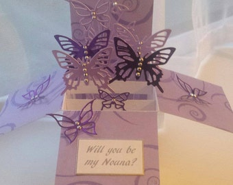 Handcrafted pop up box card made withbeautiful butterflys.