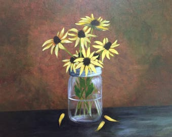 Black Eyed Susan's in a Jar