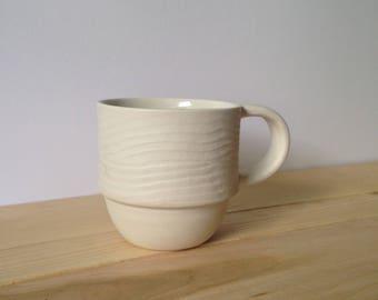 Handmade white porcelain woodgrain mug