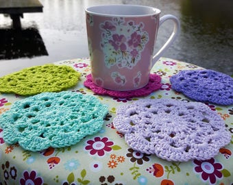 Colorful crochet coasters, choose any color & quantity, colorful coasters, handmade flower coasters, handmade crochet cotton coasters