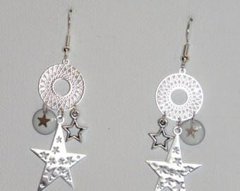 Earrings star, Star beads miyuki, sequins, resin, mini prints-star, Sun, white and silver, bouclestendance 2018
