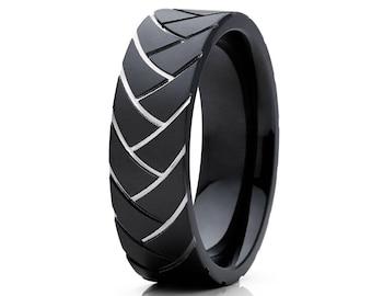 Men's Wedding Band Black Zirconium Wedding Band Tire Mark Design Ring