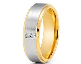 Matte Finish 14k Yellow Gold Men's Wedding Band White Diamond Ring Men & Women Ring