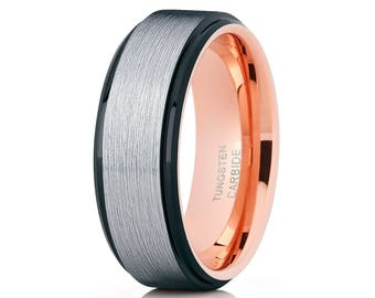 Black Tungsten Wedding Band Rose Gold Tungsten Wedding Band Brush Men & Women Tungsten Carbide Ring Comfort Fit