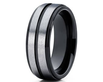Grey Tungsten Wedding Band Black Tungsten Ring Men & Women Tungsten Carbide Ring Anniversary Men's Ring Bush
