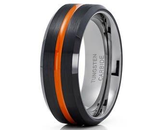 Orange Tungsten Wedding Band Gunmetal Tungsten Ring Black Wedding Band Men & Women Brush Tungsten Engagement Band
